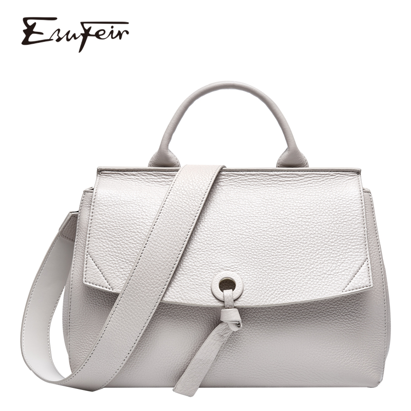 ESUFEIR 100% Genuine Leather Women Handbag Soft Leather Shoulder Bag For Women 2019 Large Capacity Luxury Handbags Crossbody Bag