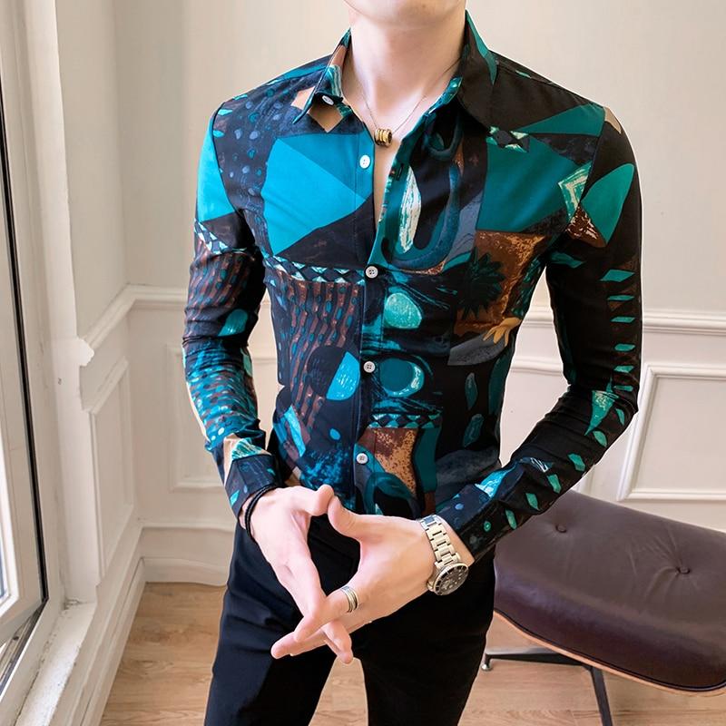 2019 Mens Shirts Dress Luxury Art Print Long Sleeve Casual Shirts Slim Fit Men Shirt High Quality Business Top Plus Size 3xl