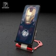 OATSBASF Qi Wireless Charger Iron Man แบบพกพาสำหรับ iPhone8 8 PLUS Samsung xiaomi9 Quick CHARGING Pad พับได้กับผู้ถือ Charger
