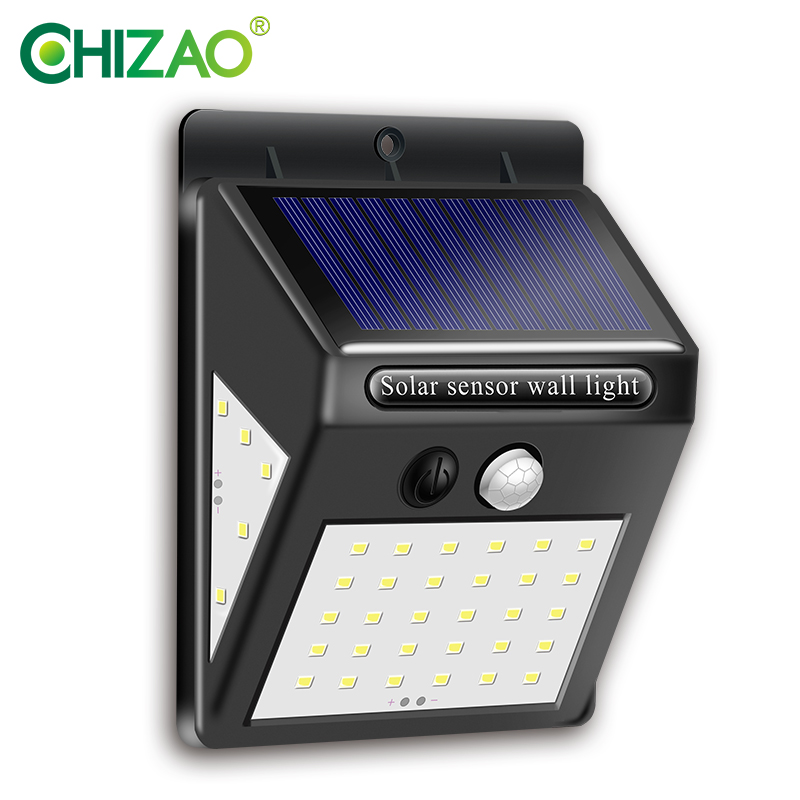 CHIZAO 40 LED Otdoor Solar Wall Lamp PIR Motion Sensor IP65 Waterproof Garden Lamps Solar Light Wireless Automatic Charging