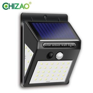 CHIZAO 40 LED Otdoor Solar Wall Lamp PIR Motion Sensor IP65 Waterproof Garden Lamps Solar light Wireless Automatic charging