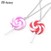 Cute Spiral Lollipop Long Necklace Cute Toy Pendant Necklace for Kids Women Choker Jewelry Gift cute panda rhinestoned pendant necklace for women