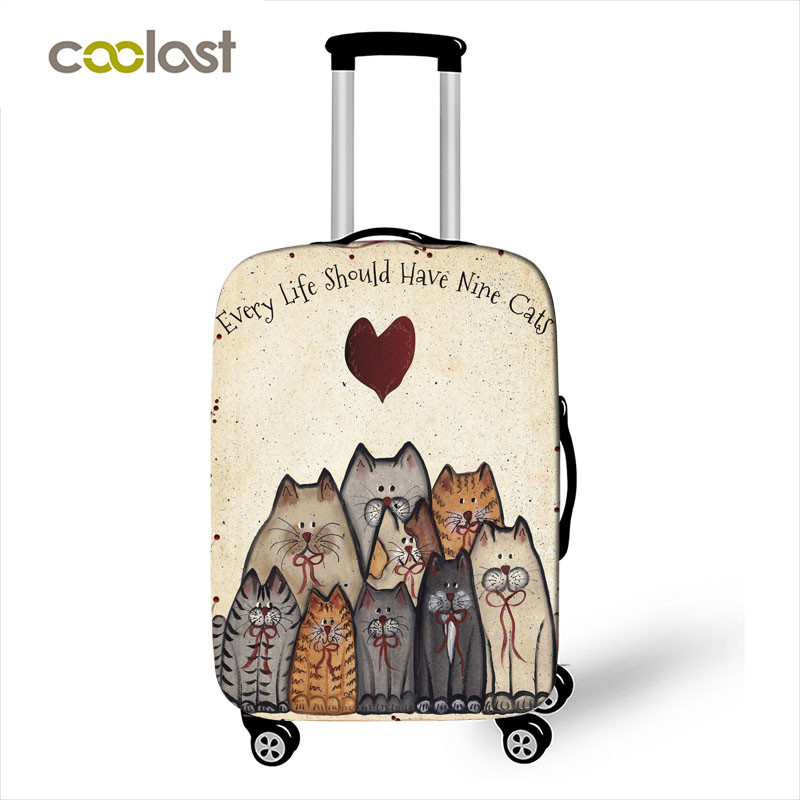 Cute Kitten / Ice Cream / Flying Pig Print Luggage Cover Travel Accessories Elastic Anti-dust Suitcase Covers Trolley Case Cover