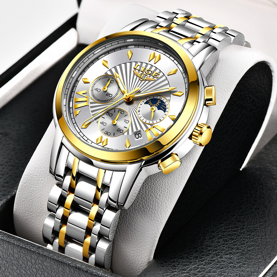 2020 LIGE Luxury Watch Man Chronograph Sport Mens Watches Quartz Clock Full Steel Male Wristwatch Relogio Masculino Gift for Men 4