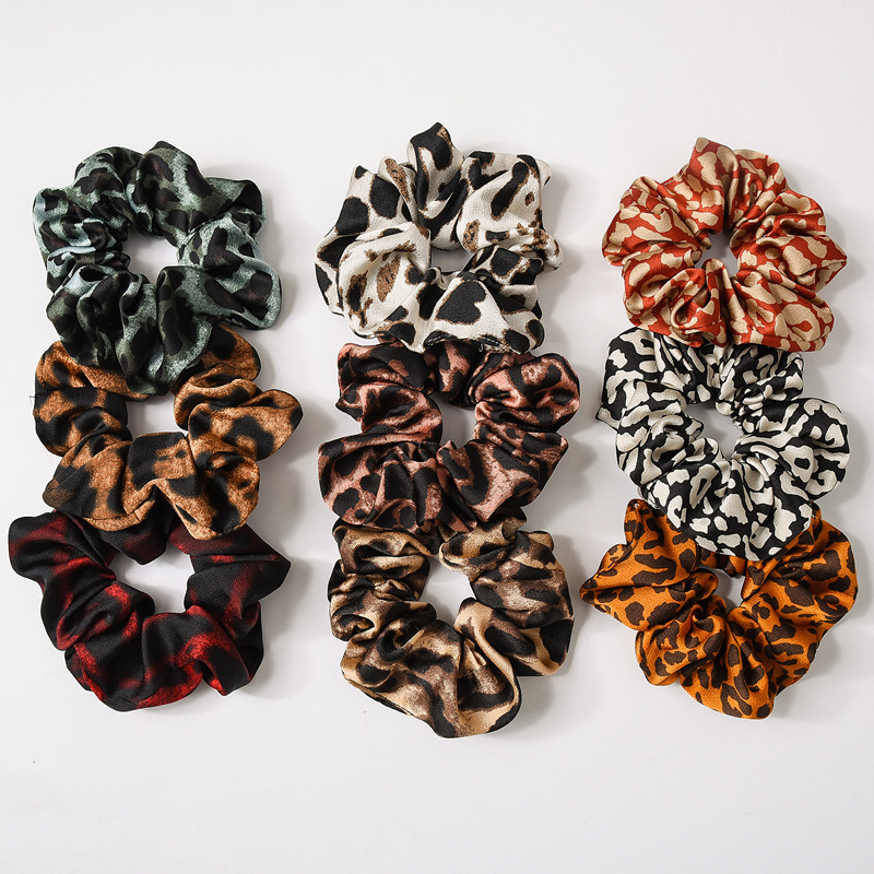 9 Colors Leopard Print Hair Rope Lady High Elasticity  Hair Tie Elastic Scrunchy Ponytail Holder Hair Rope Ring For Women Gifts