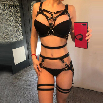 HMEX Leather Harness Underwear Set Goth Garter Belts Women Straps Bra Garter Sexy Body Belts Waist To Leg Bondage Cage