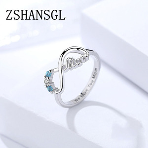 Silver color Infinity Love Forever Heart Alphabet MOM Clear Blue CZ Finger Ring for Women Wedding Engagement Jewelry Gift