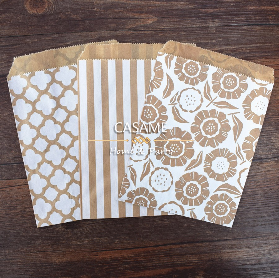 Home & Garden ... Festive & Party Supplies ... 32306594156 ... 4 ... 50pcs/ Lot treat candy bag high quality Party Favor Paper Bags Chevron Polka Dot Stripe Printed Paper craft Bags Bakery Bags ...