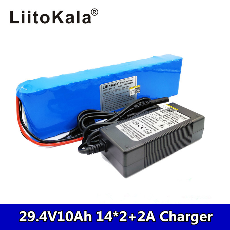 Liitokala DC 24V 10ah 7S4P <font><b>batteries</b></font> 15A BMS 250W 29.4 V 10000 mAh <font><b>Battery</b></font> for motor chair set Electric Power + <font><b>29.4V</b></font> 2A charger image