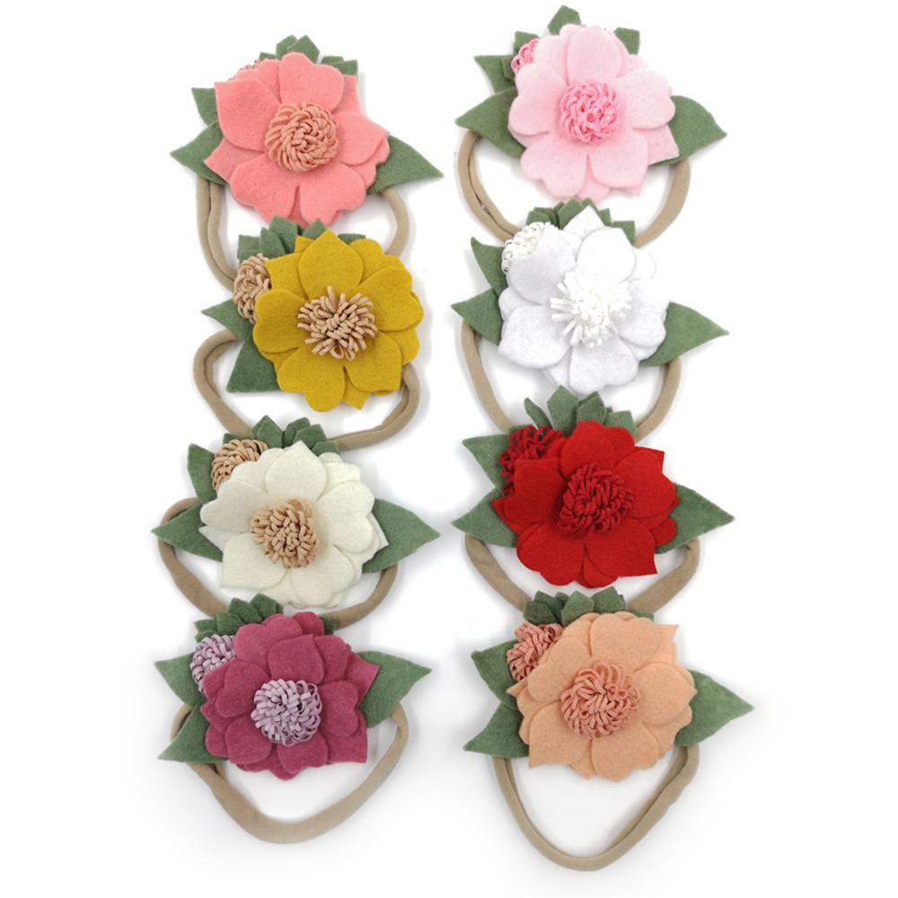 8Pcs/Set Cute Felt flower Baby Girl Headband Handmade Boutique Hair Band With Soft Elastic Nylon Ban