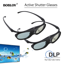 BOBLOV obturador activo 3D para proyector, gafas para proyector, DLP, Link, USB, azul, Compatible con BenQ W1070, W700, Dell, 2 uds.