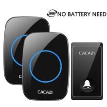 Sonnette étanche sans fil CACAZI pas besoin de batterie 58 carillons ue/états-unis/royaume-uni prise auto-alimenté porte cloche maison LED sans fil sonnettes