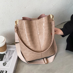 Vintage Crocodile Pattern Crossbody Bags For Women 2021 PU Leather Trend Designer Shoulder Handbags Large Capacity Bucket Bag