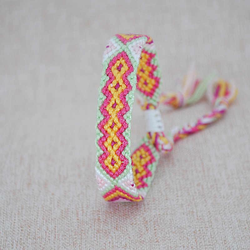 Ręcznie tkane sznurek pleciony bransoletki z rzemykami dla kobiet w stylu Vintage spódniczka bawełniana etniczna urok Boho splot bransoletki Dropshipping
