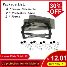 Car-Shield-Kit Auto-License-Plate-Holder Acrylic-Frame Car-Number 2-Covers New Clear