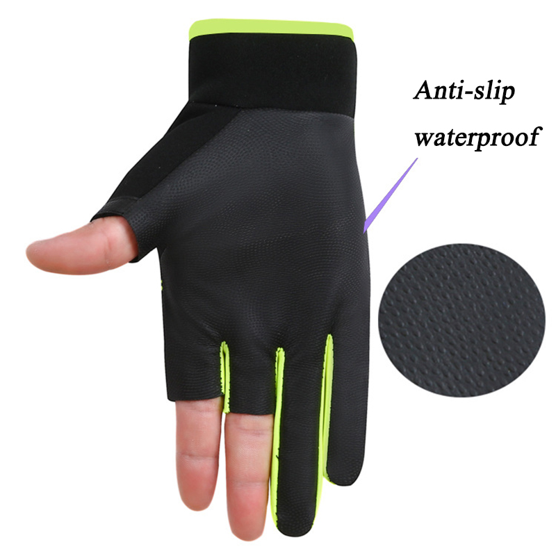 1 Pair Three Fingers Cut Fishing Gloves Men Women Anti-slip Outdoor Fishing Gloves Elasticity Sports Glove Fishing Accessories enlarge