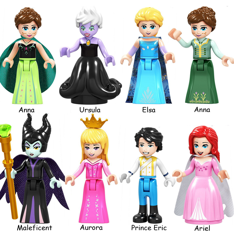 Fairy Tale Princess Girl Friends Belle Beast Cinderalla Anna Olivia Model Assemble Action Figures Construction Toys For Children