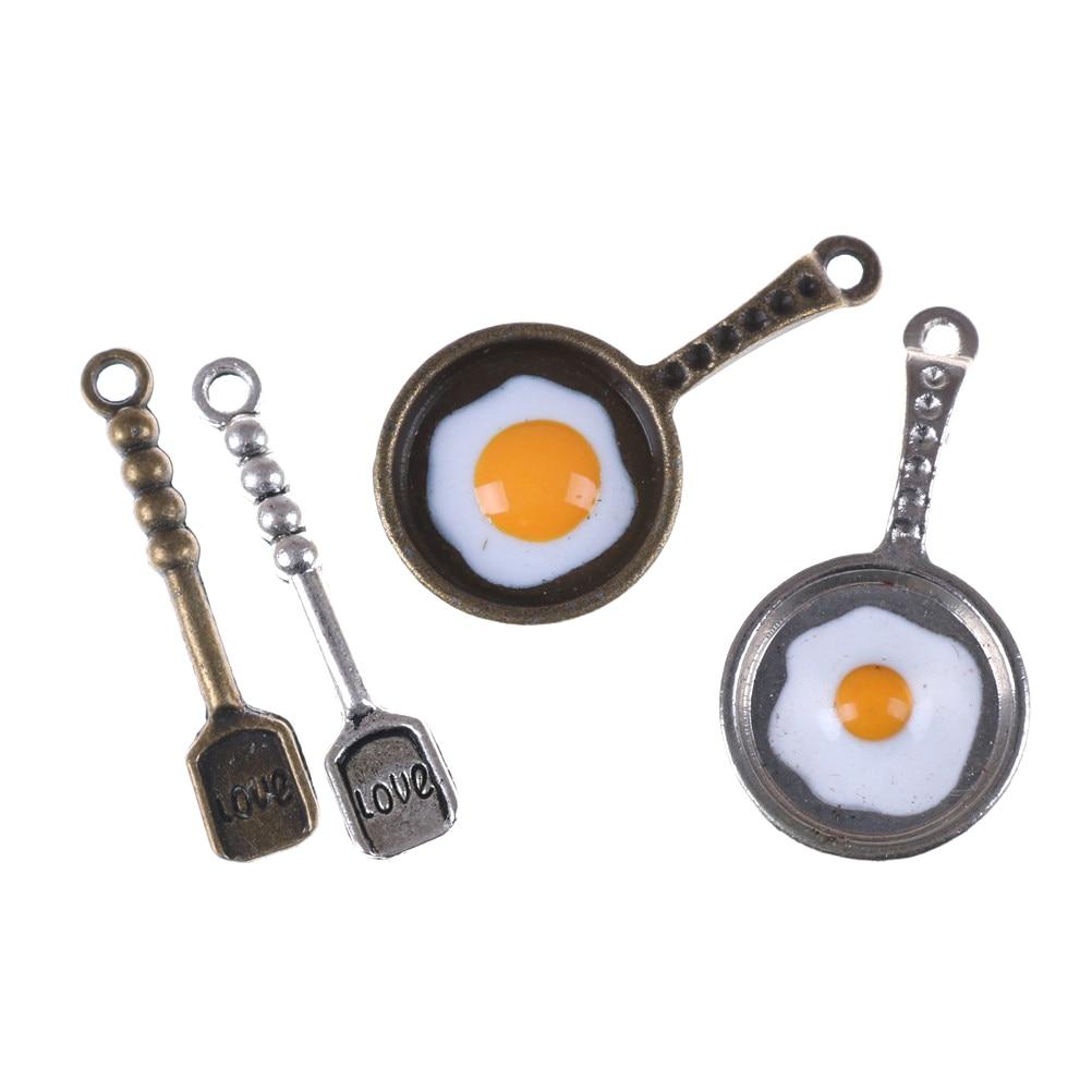 2pcs/set Pan Fried Eggs Kitchen Decoration Pandent Dollhouse Kitchenware For Children Kid Kitchen Toys Dollhouse Miniature