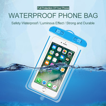 Luminous Waterproof Bag for Phone Universal 6 inch IPx8 Case Underwater Touch Operation Transparent Dry