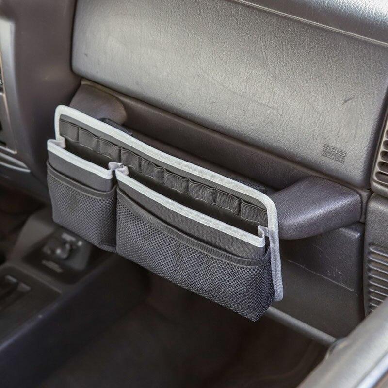 Auto Co-Pilot Center Console Storage Organizer Passenger Seat Grab Handle Storage Bag Phone Holder for Jeep Wrangler CJ YJ TJ LJ JK JKU JL JLU JT 2 Door /& 4 Door