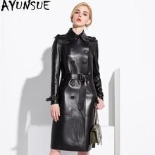 AYUNSUE 100% gerçek koyun derisi ceket kadın Streetwear uzun aşağı palto sonbahar kış ceket kadın hakiki DERİ CEKETLER MY3731