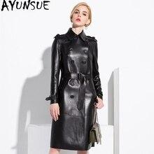 AYUNSUE 100% płaszcz z prawdziwej skóry owczej kobiet Streetwear długie kurtki puchowe jesień kurtka zimowa kobiety prawdziwej skóry kurtki MY3731
