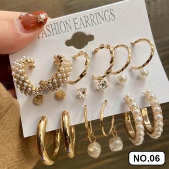 17KM Fashion Pearl Hoop Earrings Set For Women Geometirc Gold Metal Circle Hoop Earrings Brincos 2021 Trend Jewelry Gift 2