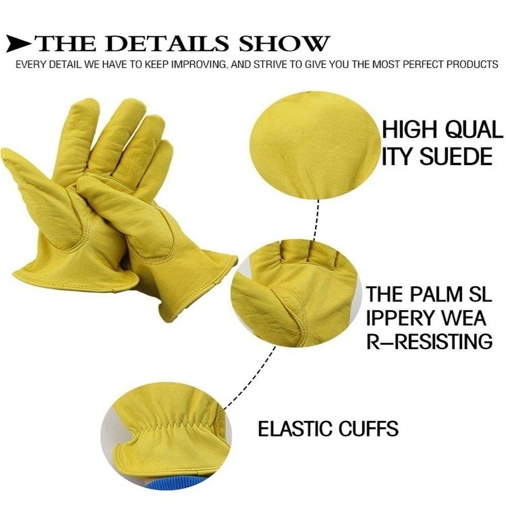 Cowhide Sports Racing Motorcycle Gloves Work Gloves Yellow Ski Hiking Gloves NOO