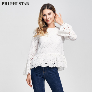 цена на Phi Phi Star Brand 2020 New Flared Sleeve 100% Cotton Eyelet Hollow Out Embroidered Tops Women Blouse Blusas