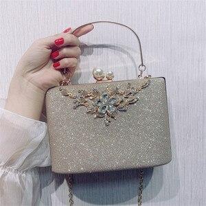 Image 1 - ZD1422 sac à main argenté de soirée pour femmes, pochette de luxe de styliste, sacoche à épaule en cristal Vintage, bourse de mariage