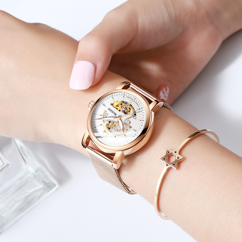 HAIQIN Ladies Dress Watches Women Watches Top Brand Luxury Sport Wrist Watch Mechanical Watch Fashion Leather Relogio Feminino