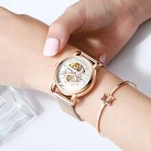 Haiqin レディースドレス腕時計女性腕時計トップブランドの高級スポーツ腕時計機械式時計ファッション革レロジオ feminino