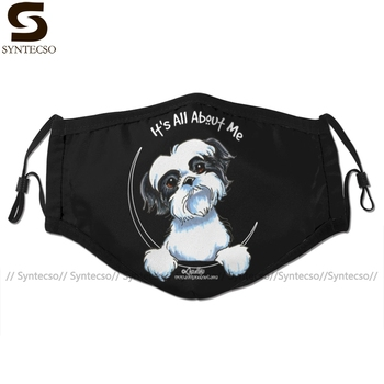 Shih Tzu Dog Mouth Face Mask Black White Tzu It Is All About Me Facial Mask Kawai Cool with 2 Filters for Adult джон ллойд news quiz read all about it
