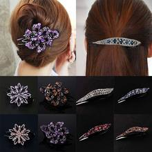 Korean Crystal hairpin for women Fashion Rhinestone Duckbill Clips Girls Hairclip Top Side Clip female party Hair Accessories