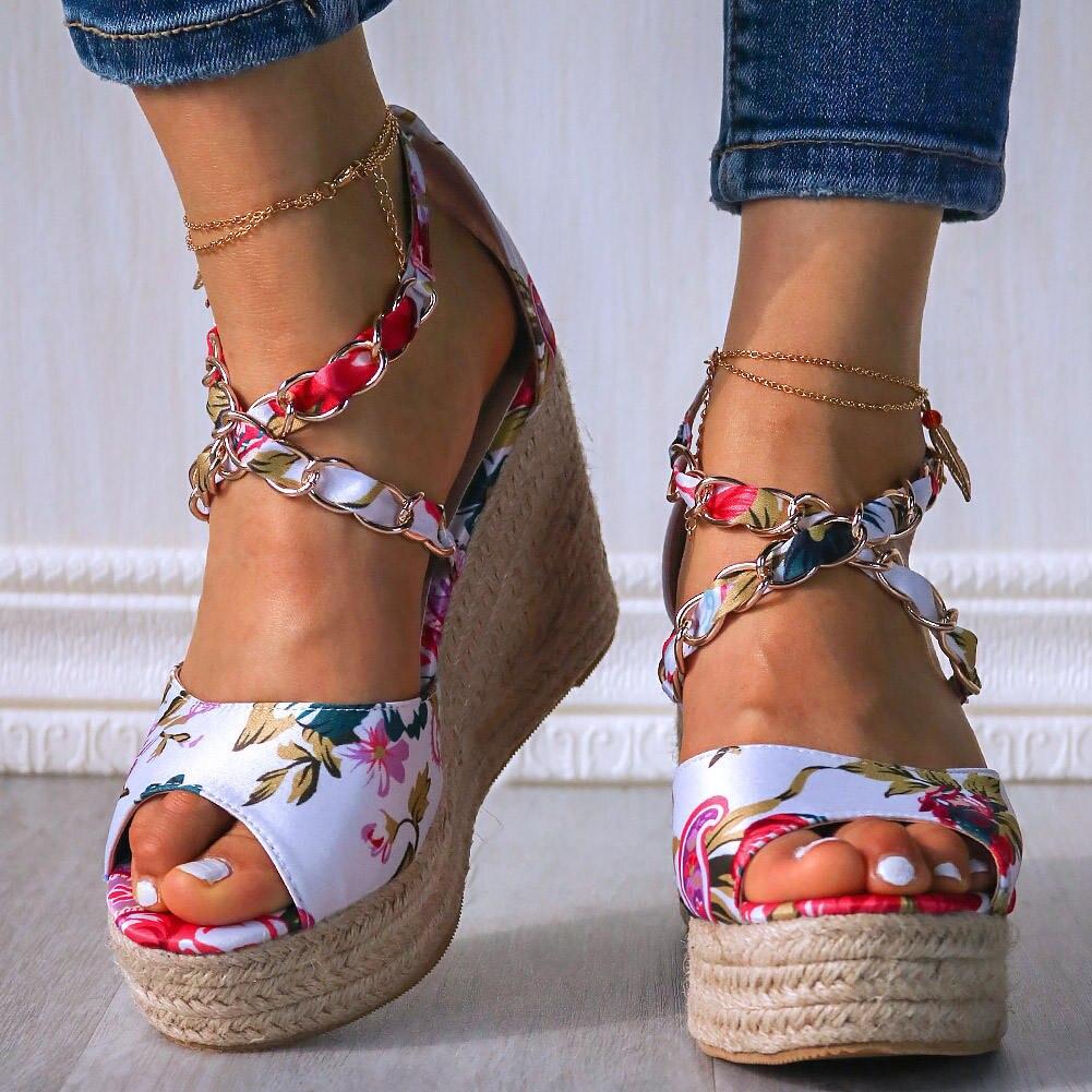 Summer 10cm High Heels starw platform silk Wedges Sandals women Brand Design Pumps Female Satin Strap Heels 2020 Summer Shoes