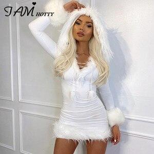 Белое меховое лоскутное облегающее платье с капюшоном и длинным рукавом, сексуальные короткие праздвечерние чные платья Y2K, Рождество 2021, ...