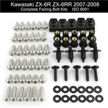 For Kawasaki ZX6R ZX-6R ZX-6RR ZX6RR 2007 2008 Complete Cowling Full Fairing Bolts Kit Fairing Clips Nuts Screw Stainless Steel недорого