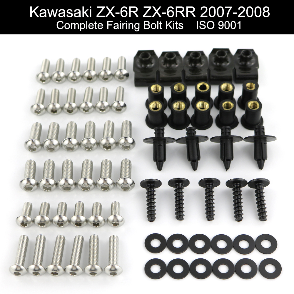 For Kawasaki <font><b>ZX6R</b></font> ZX-6R ZX-6RR ZX6RR 2007 <font><b>2008</b></font> Complete Cowling Full <font><b>Fairing</b></font> Bolts Kit <font><b>Fairing</b></font> Clips Nuts Screw Stainless Steel image