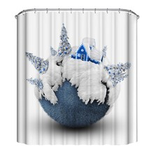 цена на Cute Christmas Theme Shower Curtain Mildew Waterproof Polyester Fabric Shower Curtain Bathroom Christmas Decor CM