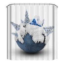 Cute Christmas Theme Shower Curtain Mildew Waterproof Polyester Fabric Shower Curtain Bathroom Christmas Decor CM christmas balls waterproof fabric shower curtain