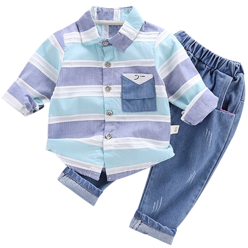 Newborn Baby Clothes Children Clothing Gentleman Baby Boy Striped Shirt+jeans Fashion Baby Boy Clothes Baby Boy Clothes Set