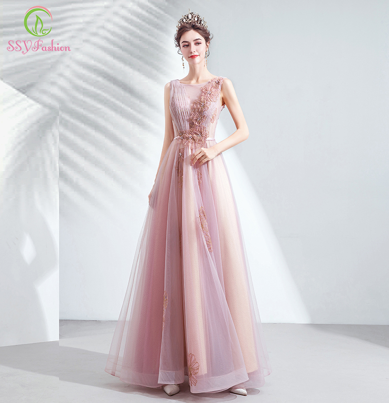SSYFashion New Sweet Pink Evening Dress Elegant Scoop Sleeveless Lace Appliques Beading Long Formal Prom Gown Robe De Soiree