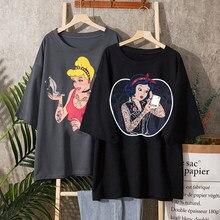 Alice Im Wunderland T Shirt Frauen Baumwolle Tops Schwarz Alice Schnee Weiß Prinzessin Drucken Casual Kurzarm 90s Vogue t-shirt