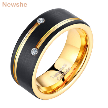 Newshe Mens Tungsten Carbide Ring Black and Golden Color 8mm Wedding Band For Men AAA Cubic Zirconia Jewelry Size 9-13 TRX044