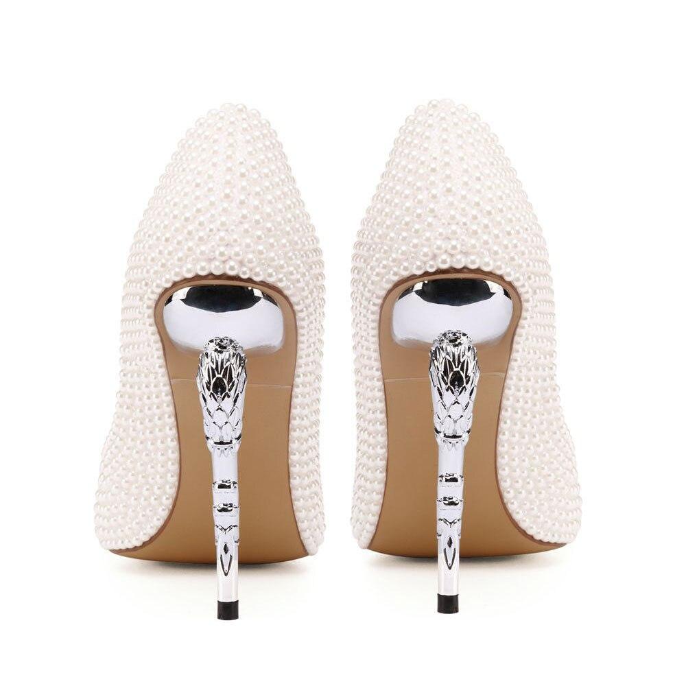 Bianco Perla Donne Pompe Strano Tacco A Spillo 11 centimetri Tacchi Pattini di Vestito Da Sposa scarpe A Punta Da Sposa Su Misura Bella tacchi Alti - 6