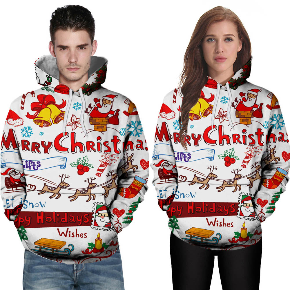 2019 Christmas 3D Printed Couple Hoodies Women Men Sweatshirt Lovers Couples Casual Pullovers Gift plus size