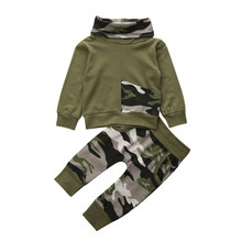 Newborn Baby Boy Girl Clothes Hoodies Sweatshirt Spring Autumn Fall Clothes Camo Tops Long Pants Outfits 2PCS Set Pocket Fashion(China)