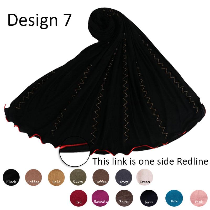 Redline D7- One Side Red Line Cotton Stretchy Jersey Hijab Scarf With Rhinestone Diamond Shawl  For Netherland Muslim Women