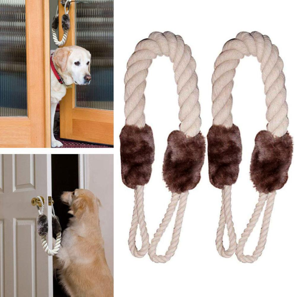 2Pcs Door Handles Anti-Collision Pet Chewing Cotton Rope Protective Stopper New