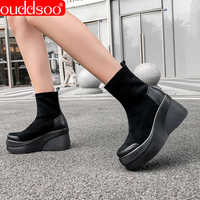 ODS Black Platform Wedge Boots Stretch Ankle Women Shoes Spring Autumn Genuine Leather Woman Party High Boots Zapatos De Mujer
